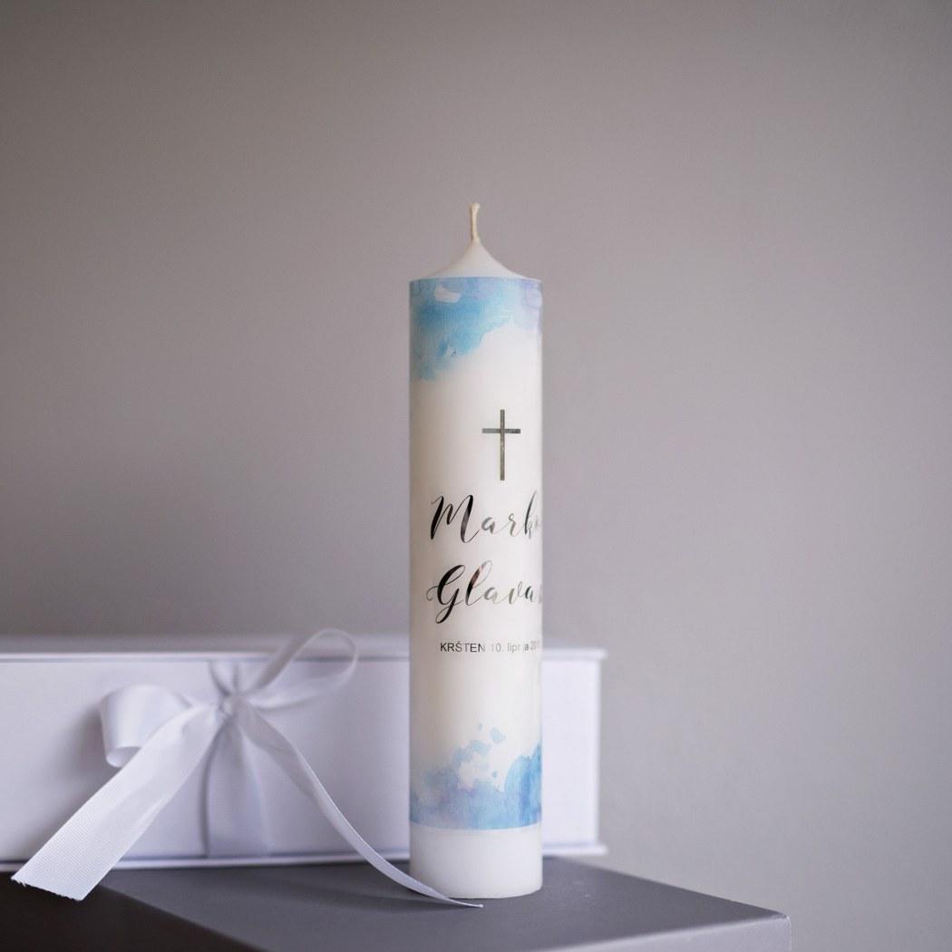 svijeća za krštenje akvarel