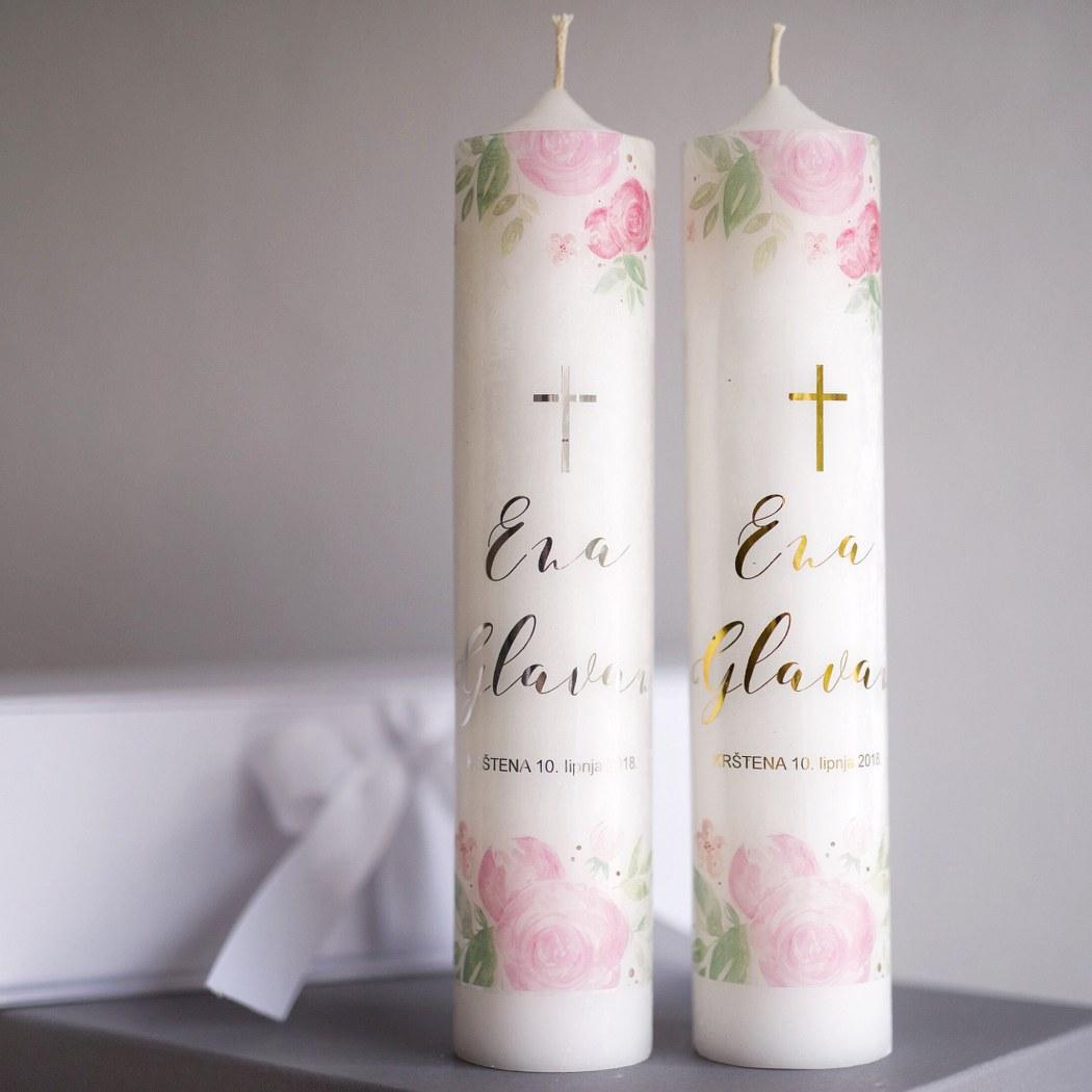 svijeća za krštenje božur